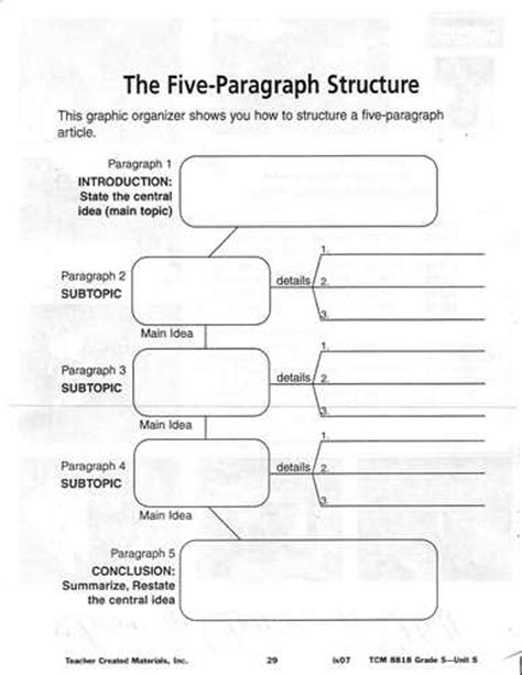 essay structure graphic organizer 5 paragraph expository essay graphic organizer
