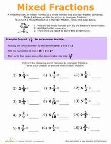mixed and improper fractions worksheet education com