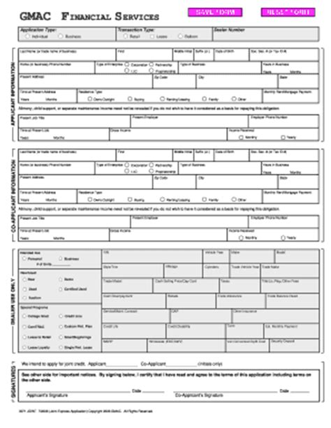 Gmac Credit Application Form Ally Credit Application Fill Printable Fillable Blank Pdffiller