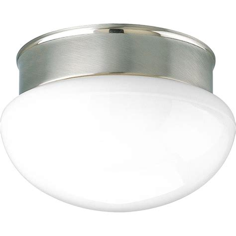 Progress Lighting Fixture Progress Lighting 1 Light Brushed Nickel Flushmount P3408 09 The Home Depot