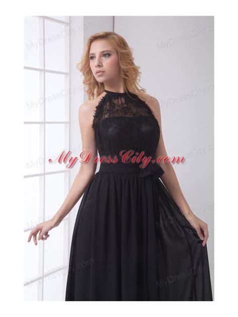 Simple Empire Halter Lace Chiffon Floor length Black Prom Dress   MyDressCity.com