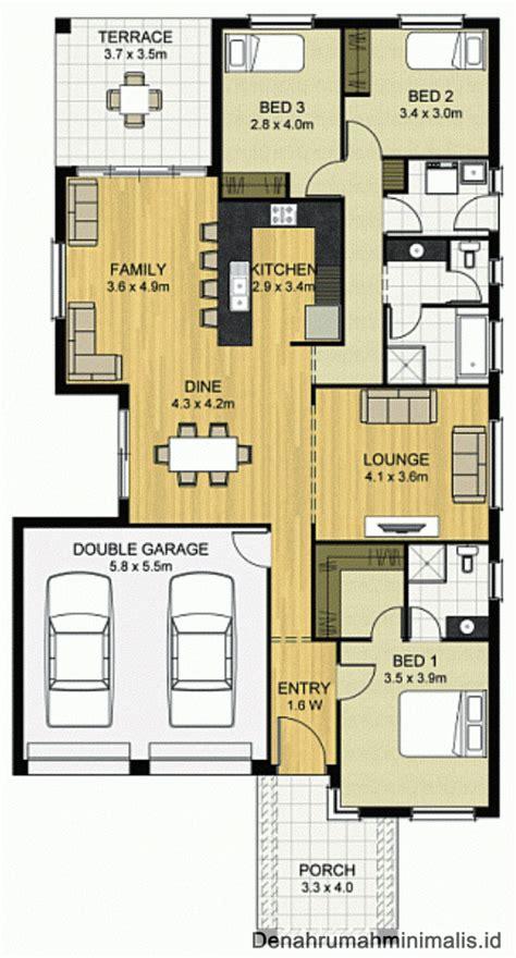 type rumah minimalis 1 lantai 3 kamar dengan 2 garasi denah desain rumah minimalis 1 dan 2