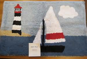 harbor cove nautical sailboats lighthouses bath mat
