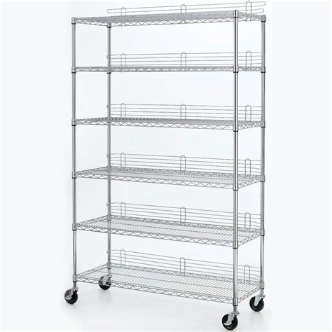 hdx wire shelving hdx 6 shelf 77 in h x 48 in w x 18 in d industrial wire unit in chrome eh wshdi 001 the