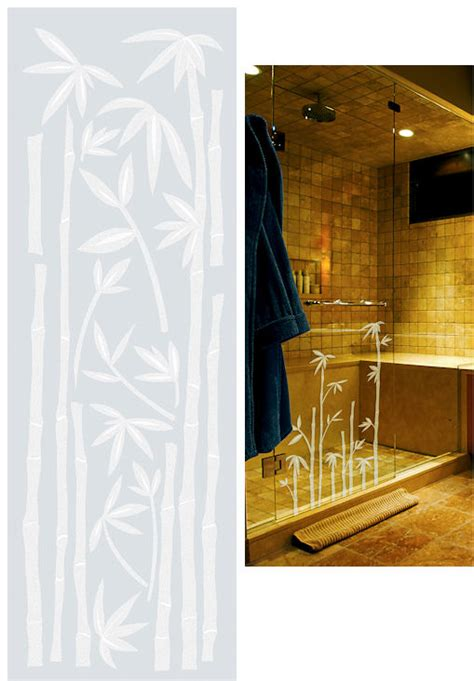 bamboo etched glass peel  stick wall sticker