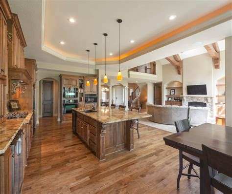 partially open concept kitchen kitchen traditional with