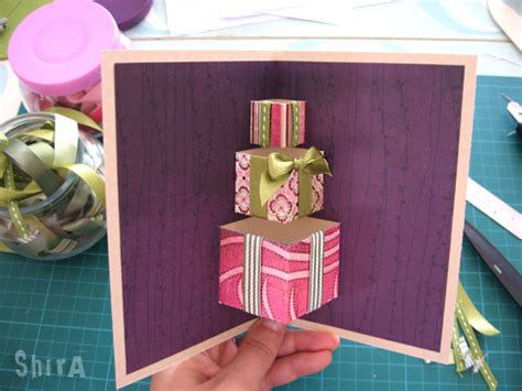 how to make open when cards a pile of gifts pop up card the green box