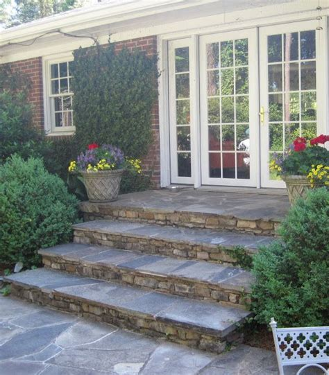 deck to patio transition french doors stone steps and nice on pinterest