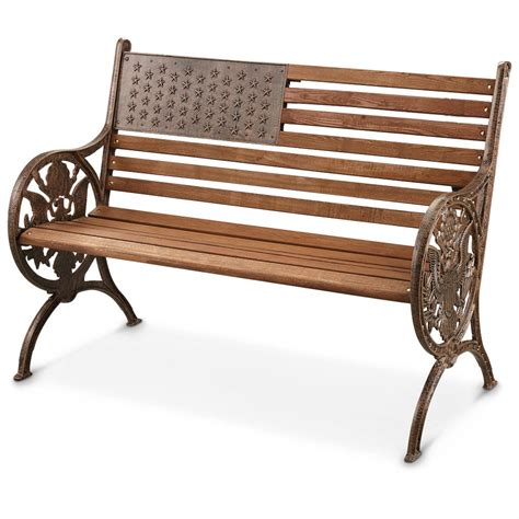 American Proud Cast Iron / Wood Park Bench   281386, Patio Furniture at Sportsman's Guide