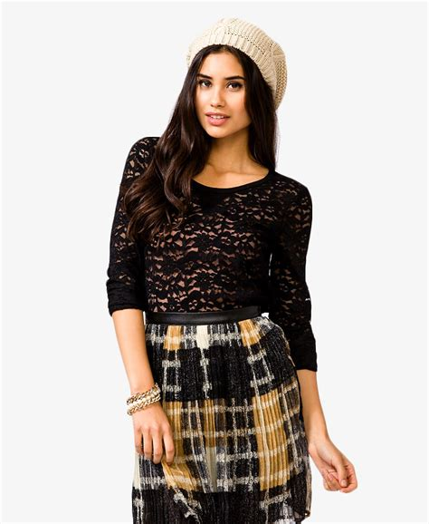Sleeve Top Combi Plaid Lace lyst forever 21 sleeve lace top in black