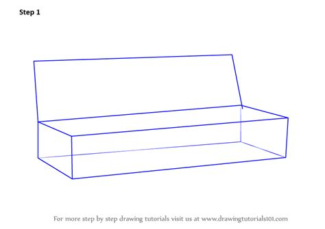 How To Draw 3d Furniture by Learn How To Draw Sofa Furniture Step By Step Drawing