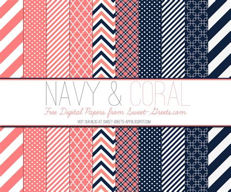Just peachy designs free digital paper navy and coral