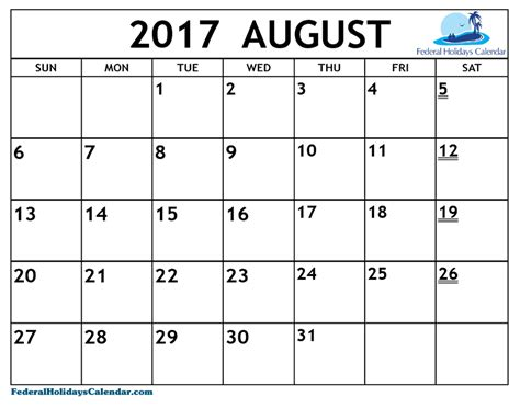 best free august 2017 calendar printable template