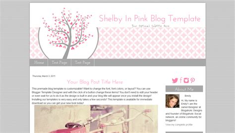 blogger blog template pink heart blog template shelby pink