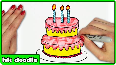 play cake doodle how to draw a birthday cake by hooplakidz doodle drawing