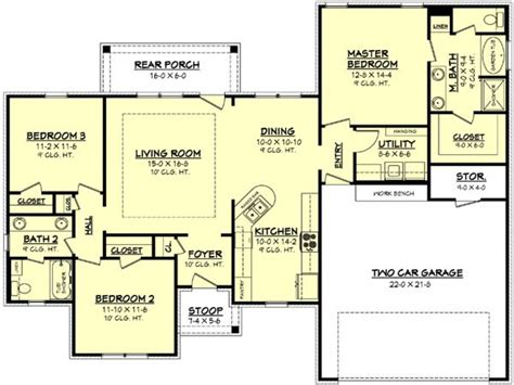 1500 sq ft house floor plans 1100 square feet 1500 square feet 3 bedroom house plan