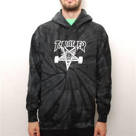 Hoodie Thrasher Jaket Thrasher Sweater Thrasher thrasher spider skategoat tie dye hoodie black grey hooded tops from skate store uk