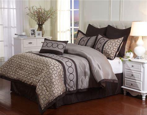 brown and tan comforter full size 7 piece tan brown comforter set reversible