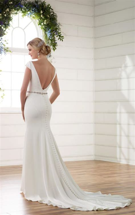 boat neck fall dress boat neck wedding dress with cap sleeves v back