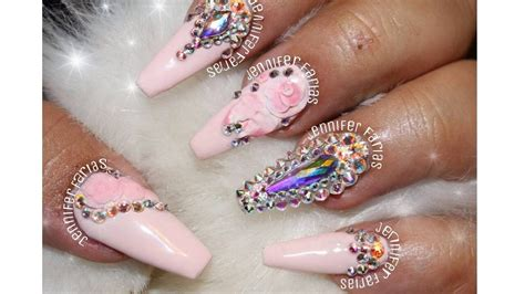 imagenes uñas blancas decoradas u 241 as acrilicas rosa pastel con swarosvky u 241 as acrilicas