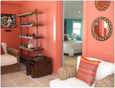 coral room coral walls with tan bedding turquoise aqua