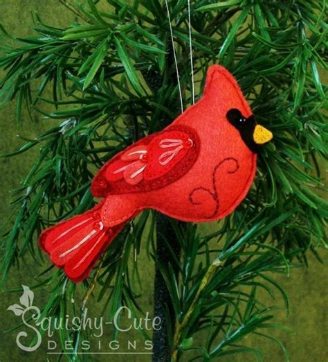 printable bird ornaments felt cardinal ornament pattern cardinals felting and