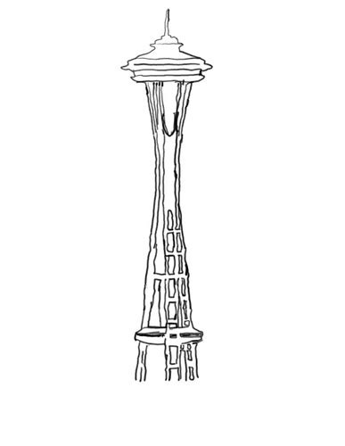 Seattle Space Needle Drawing Sketch Coloring Page sketch template