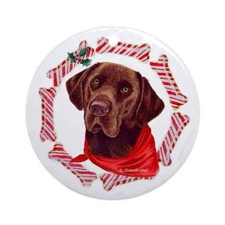 chocolate lab christmas ornament round by labradornaments