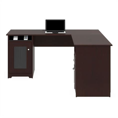 cabot l shaped desk bush cabot 60 quot l shaped computer desk in harvest cherry