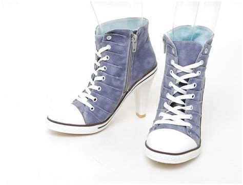 high heels canvas sneakers tennis shoes boots blue
