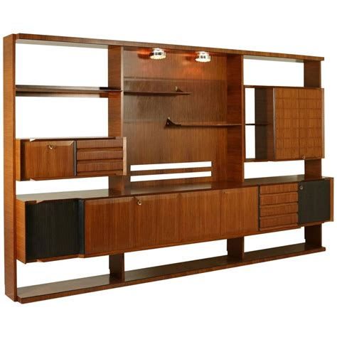 italian design mid century modern wall unit in rosewood
