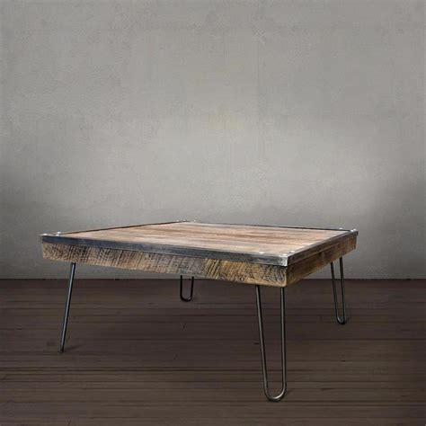 industrial square coffee reclaimed wood coffee table industrial square free