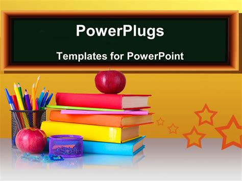 Powerpoint Template A Number Of Books And Color Pencils With Apples 7948 Powerplugs Powerpoint Templates