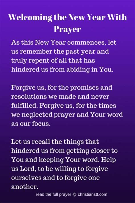 prayer to welcome the new year 2018