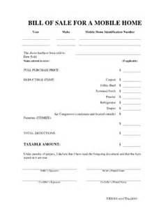 mobile home bill of sale fill online printable