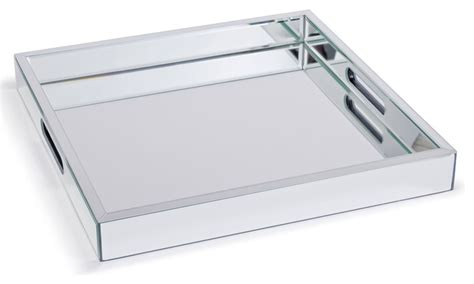 Zelda Modern Hollywood Regency Mirror Square Serving Tray   17.25 Inch   Transitional   Serving