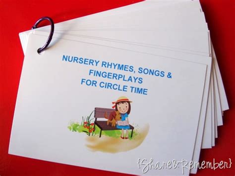 song cards nursery rhymes fingerplays songs printables
