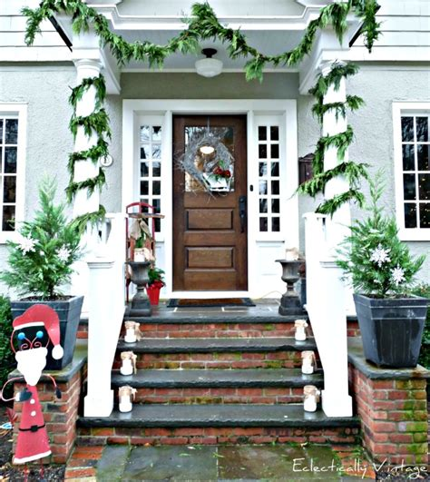 decorating porch column for xmas open house tour tons of decorating ideas