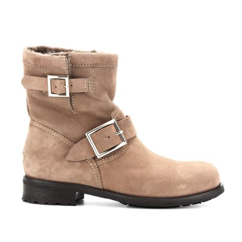 10 Jimmy Choo Boots by Lyst Jimmy Choo Youth Suede Biker Boots With Shearling