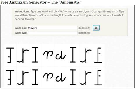 tattoo yourself generator ambigram generator