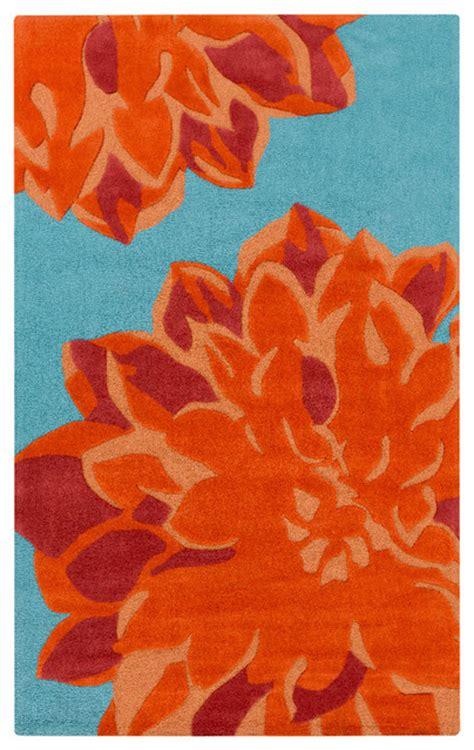 orange teal rug surya budding bud 2000 burnt orange tangerine teal area rug contemporary area rugs by