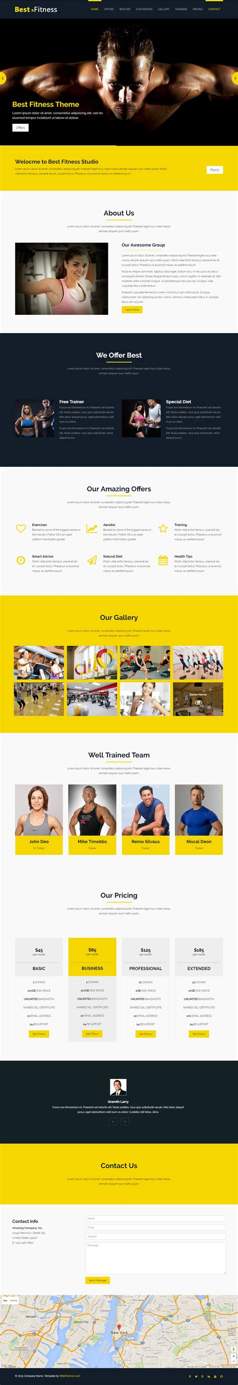 bootstrap templates for gym best fitness bootstrap website template webthemez