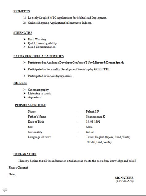declaration format in resume for freshers freshers be resume format free