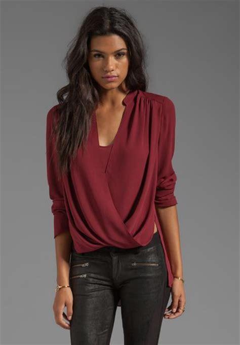 Blouse Dress Maroon bcbgmaxazria wrap blouse in burgundy in merlot lyst