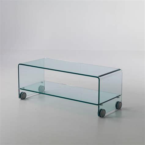 porta tv in vetro tavolino porta tv leonid in vetro curvato su ruote 100 x 40 cm