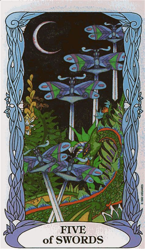 Tarot Of A Moon Garden by Barefoot Fool Five Of Swords Tarot Of A Moon Garden