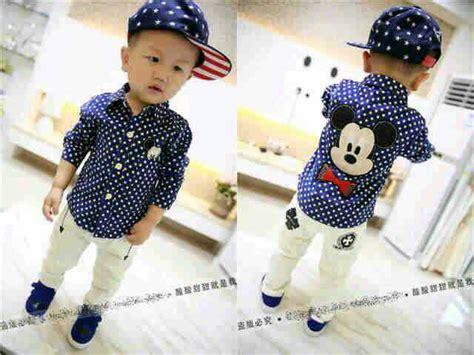 Setelan Anak setelan anak laki laki baju kemeja micky mouse celana panjang lucu murah ryn fashion