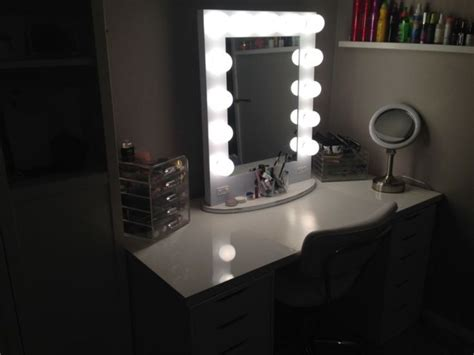 white desk with mirror and lights traditional top vanity mirror with light doherty
