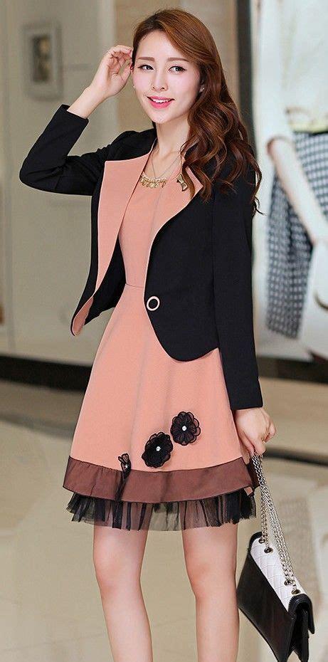 Korean 2in1 Style Top 2in1 korean set dress plus blazer jacket yrb0284 blazer