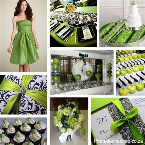 black white and green wedding centerpieces apple black and white damask primadonna